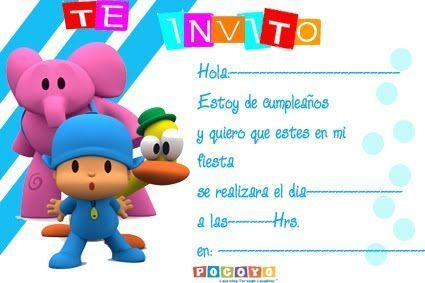 Tarjetas de cumpleaños de Pocoyo para editar - Imagui
