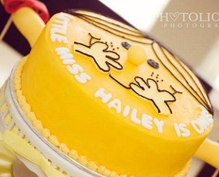 cumpleanos un ano nina amarillo tarta