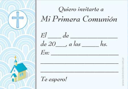 Invitaciones de comunión para imprimir gratis