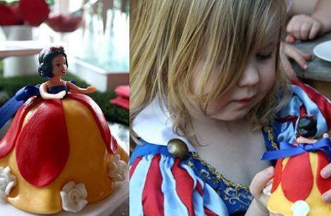 fiesta cumpleanos blancanieves tarta