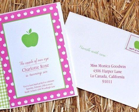 fiesta cumpleanos manzana invitaciones