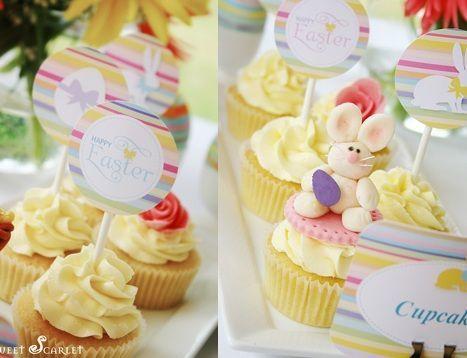 fiesta pascua mesa cupcakes