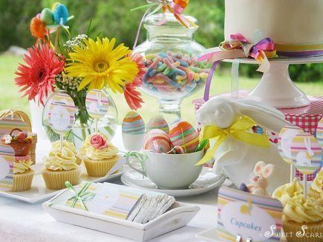 fiesta pascua mesa huevos