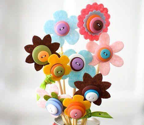 flores fieltro dia de la madre