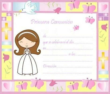 invitaciones comunion imprimir gratis nina colores