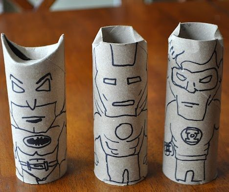 manualidades rollos papel dibujo