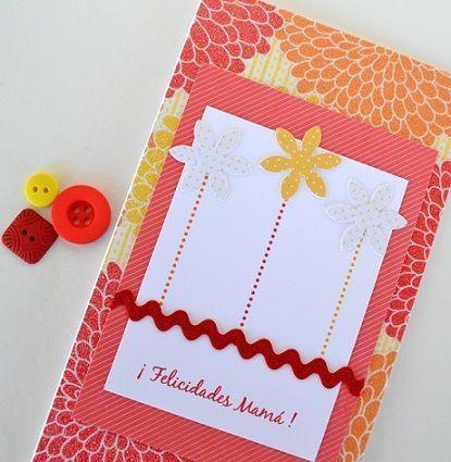 tarjeta casera dia de la madre roja