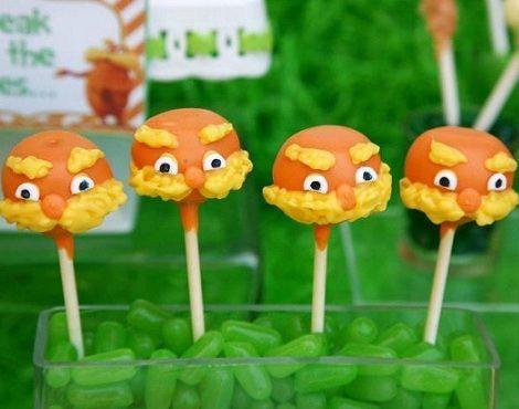 cumpleanos lorax cake pops