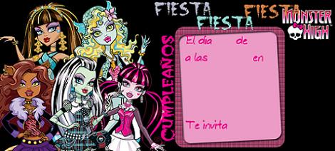 Invitación fiesta Monster High