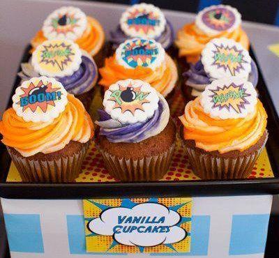 fiesta superheroes cupcakes