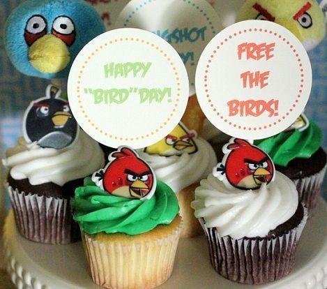 cumpleanos angry birds cupcakes