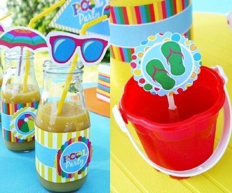 fiesta piscina cubiertos zumos