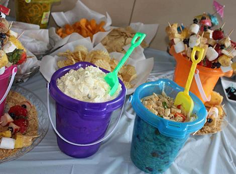 fiesta playa cumpleaños cubos