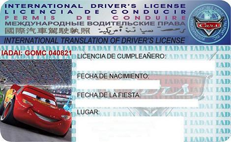 Invitación Cars original