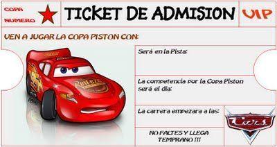 Invitación de cumple de Cars