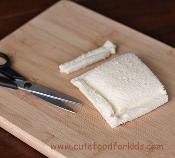 sandwich para ninos cortar sobrantes