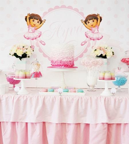 decoración de un cumpleaños de Dora exploradora