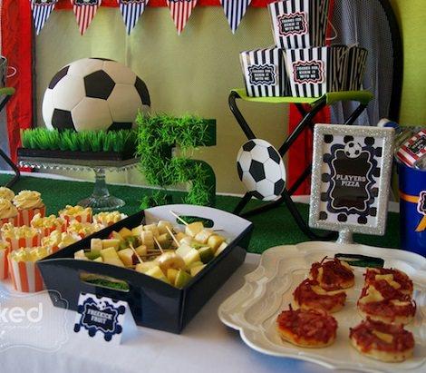 Ideas para la decoraci n de una fiesta de cumplea os de f tbol para ni os - Comidas para cumpleanos en casa ...