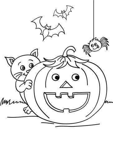 Dibujos de calabazas para pintar y colorear en halloween - Dibujos infantiles halloween ...