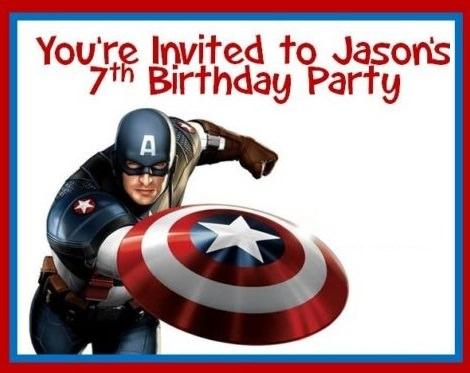 invitacion de cumpleaños del capitán américa