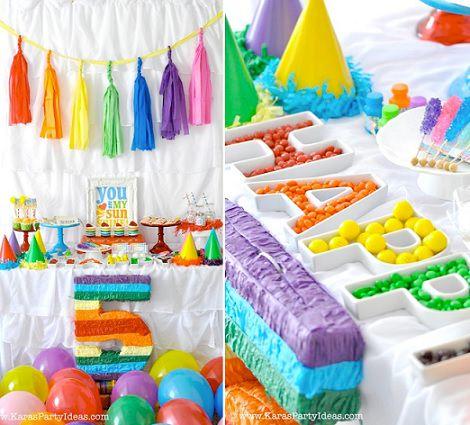 Decoraci n e ideas para una fiesta de cumplea os de arco ris - Adornos para una fiesta de cumpleanos ...