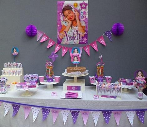 decoración para una fiesta infantil de violetta