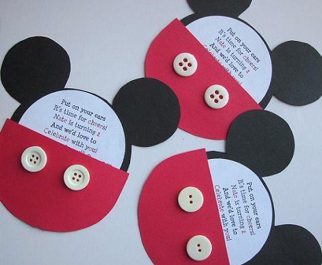 Invitaciones de cumpleaños caseras de Mickey Mouse