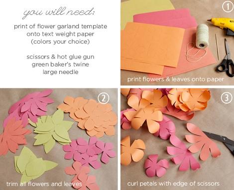 guirnalda casera de flores con papel