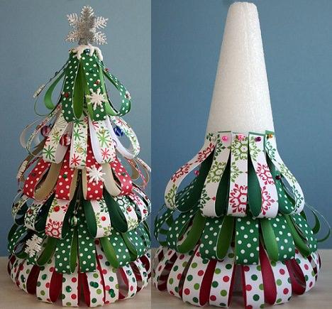 Ideas para hacer un rbol de navidad casero de papel - Cintas navidad para arbol ...