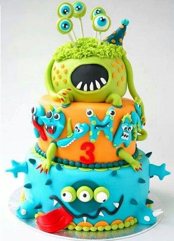 pastel decorado con fondant de colores tarta de cumpleaos