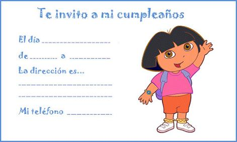 Invitación de cumpleaños de Dora