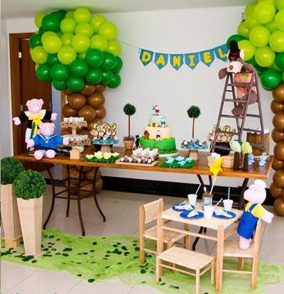 cumpleaños los tres cerditos globos