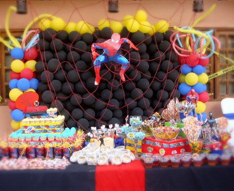 cumpleaños spiderman mesa