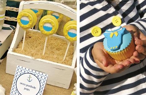 fiesta bautizo marinera cupcakes
