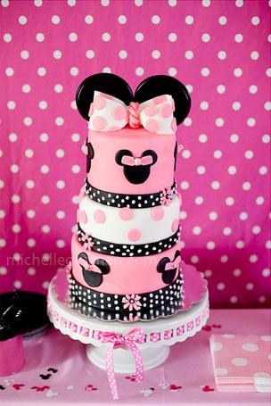 fiesta cumpleaños minnie mouse tarta