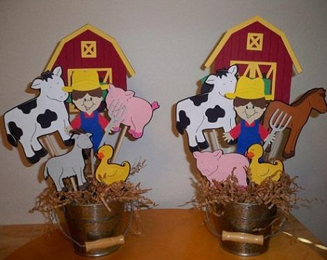 centros de mesa infantiles originales granja