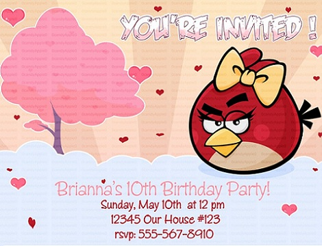invitaciones cumpleaños angry birds niña