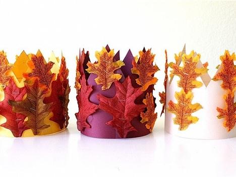 coronas niños hojas