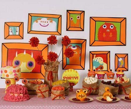 decoracion mesa cumpleanos monstruos