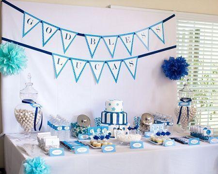 Fiesta de bautizo para ni o - Como hacer centros de mesa con dulces para bautizo ...