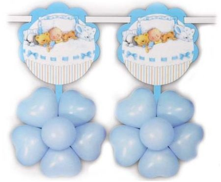 globos bautizo nino guirnalda