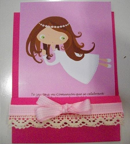 invitaciones comunion originales rosa