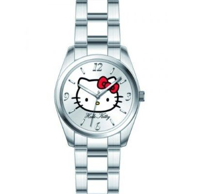 reloj kitty color plata