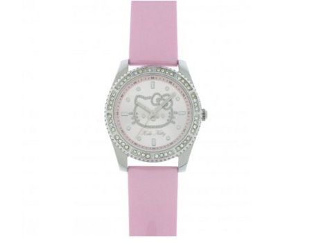 reloj kitty correa piel rosa brillos