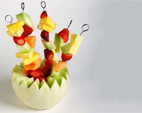 brochetas fruta melon