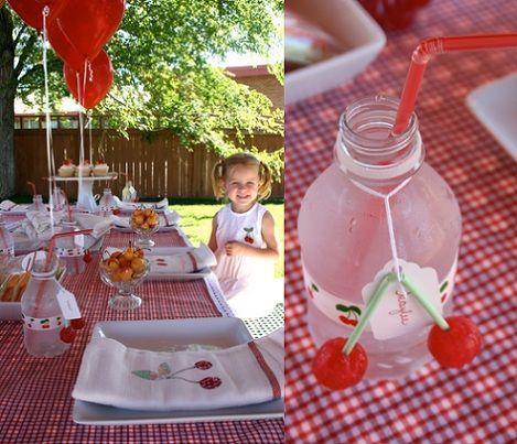 fiesta cumpleanos cerezas agua