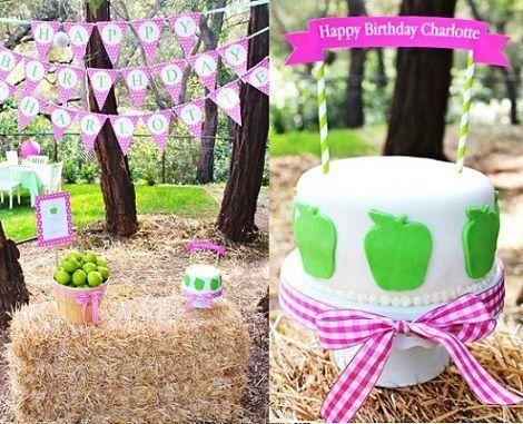 fiesta cumpleanos manzana tarta