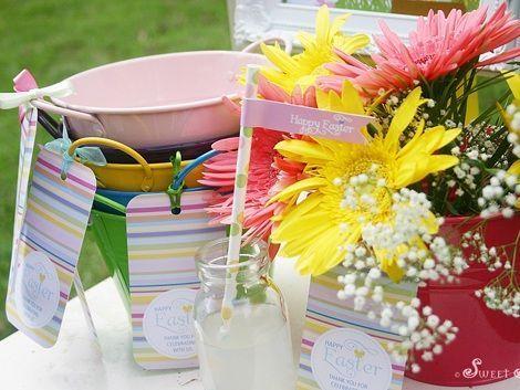 fiesta pascua mesa flores