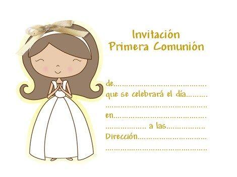 invitaciones comunion imprimir gratis nina rosa