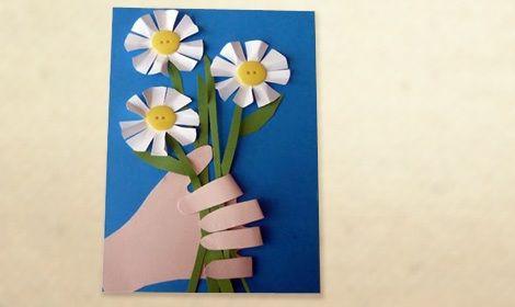 tarjeta casera dia de la madre flores mano